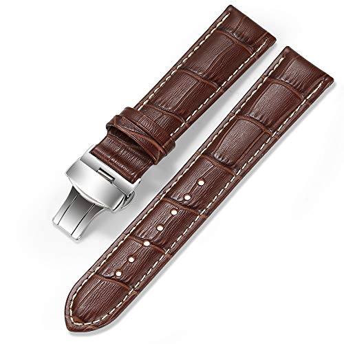 iStrap Watch Band Deployment Buckle Calf Leather Padded Replacement Strap
