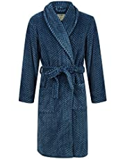 John Christian Men's Blue Herringbone Fleece Robe