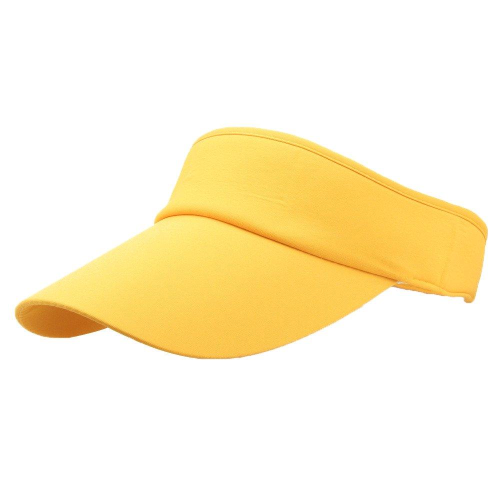 Unisex Sun Sports Visor Large Brim Summer UV Protection Beach Cap Top Level 100% Cotton Cap Outdoors Quick Dry Hat (Yellow)