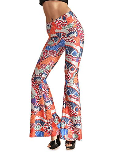 - Tobyak Women's Printed High Waist Wide Leg Flare Pants Bell Bottoms Pattern #8XL=US 10-12 popular