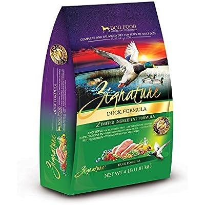 Zignature Duck Dog Food 4 Pound Bag.