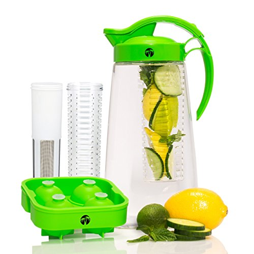 Fruit & Tea Infusion Water Pitcher - The PERFECT Gift - Free Ice Ball Maker - Free Infused Water Recipe Booklet - Includes Shatterproof Jug, Fruit Infuser, and Tea Infuser - Great for weight loss