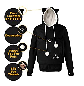 Mindscope Petgaroo Womens Sweatshirt (Sizes Run Smaller) With Pet Holder For Cats Kittens Dogs Puppies Pet Holder Kangaroo Pouch Hoodie (Large Black)