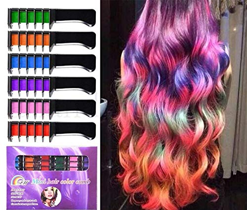 Hair Chalk Temporary Hair Color Comb, 6 Colors Washable Comb Brush - Non Toxic for Kids & Adults - Party Fans Cosplay DIY