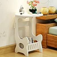 Magshion Wood Table With Shelf Nightstand Bedroom Living Room Sofa Side End Table Furniture White