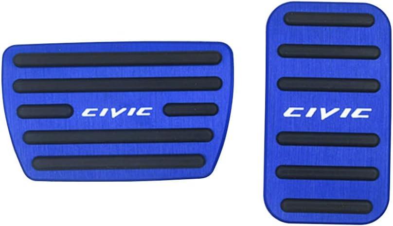 XITER No Drill Anti-Slip Aluminum Gas Brake Pedal Cover Foot Pedal Pads kit For Honda 10th Civic 2016 2017 2018 2019 2020 BLUE
