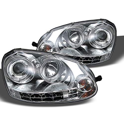 Xtune for 2006-2009 GTI Jetta Rabbit Twin Halo LED Projector Headlights Pair Left+Right/2007 2008 ()