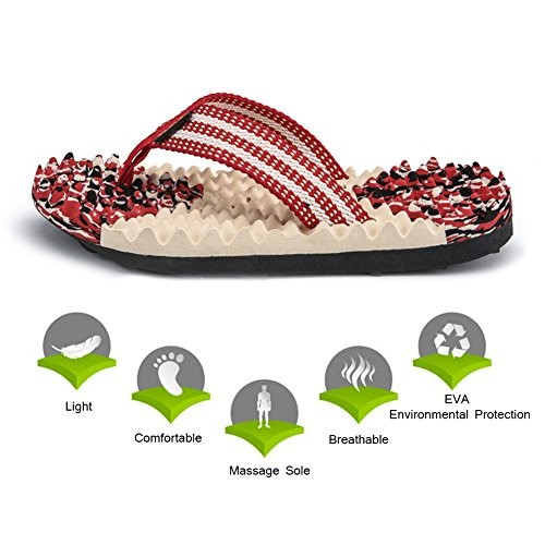 Comfort Massage Thong (KUNSHOP Massage Flip Flops Men Women Comfortable Athletic Thong Sandals Sports Slipper Footwear Walking Shoes)