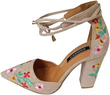 Zapato mujer negro bordado, Covermason Bordado de flores ...