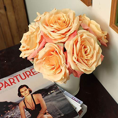 "Larksilk 20"" Silk Artificial Roses Apricot Light Orange Fake Flowers for Decorations & Wedding Bridal Bouquets (Pack of - Bouquet Bridal Orange"