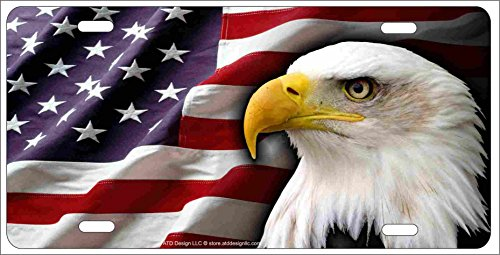 - ATD American Bald Eagle Patriotic Novelty License Plate Eagle Head on American Flag