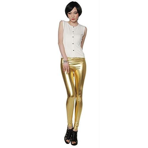 JNTworld Damen Frauen sexy Wet-Look glänzen/ glänzend Enge flüssige metallische faux Leder mit hoher...