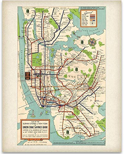 New York Subway Map 1948-11x14 Unframed Art Print - Great Vintage Home Decor Under - York City Map New