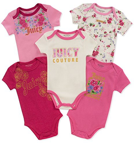 Juicy Couture Baby Girls 5 Pieces Pack Bodysuits, Berry/Pink/Silent Vanilla, 0-3 Months