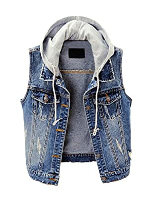 ZLSLZ Womens Vintage Casual Slim Distressed Ripped Sleeveless Denim Jean Vest Jacket With Hoodie