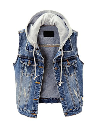 ZLSLZ Womens Vintage Casual Slim Distressed Ripped Sleeveless Denim Jean Vest Jacket With Hoodie Blue US XL