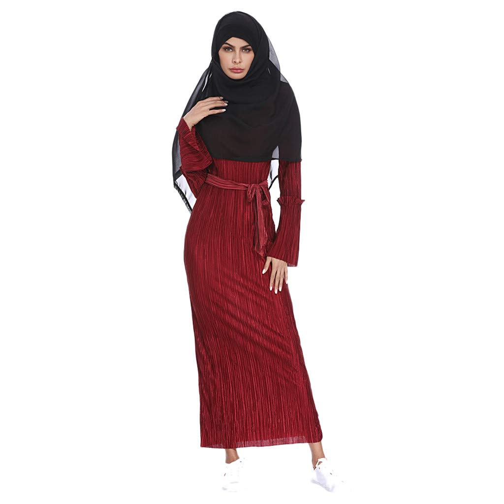 ddbb51a843d5 Amazon.com  Goldweather Women Muslim Kaftan Dresses Ladies Summer Abaya  Islami Turkish Long Gown Tunic Maxi Dresses  Clothing