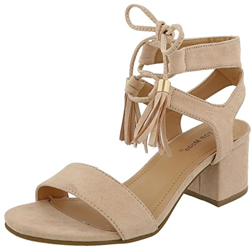 TOP Moda Women's Tassel Stacked Block Heel Gladiator Sandal (5.5 B(M) US, Blush)