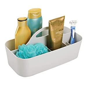 mDesign Plastic Portable Storage Organizer Caddy Tote - Divided Basket Bin with Handle for Bathroom, Dorm Room - Holds Hand Soap, Body Wash, Shampoo, Conditioner, Lotion - Large - Light Gray