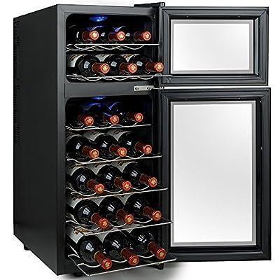 Firebird 21 Bottles Dual Zone Adjustable Temperature Freestanding Electric Thermoelectric Wine Cooler Cellar