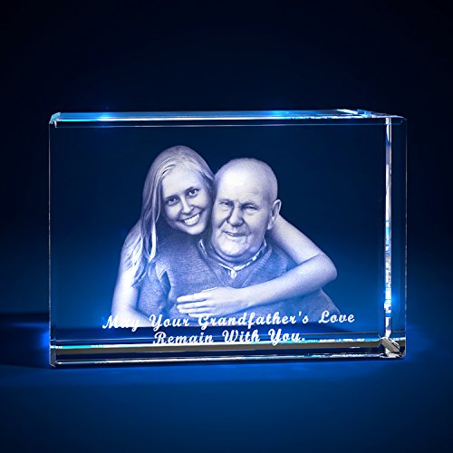 3D Laser Crystal Glass Personalized Etched Engrave Gift Memorial Landscape L Transperant Clear NEW -