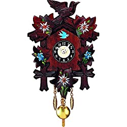 Alexander Taron 0126-10QP Engstler Battery-Operated Clock - Mini Size with Music/Chimes - 6.75 H x 5 W x 3 D, Red