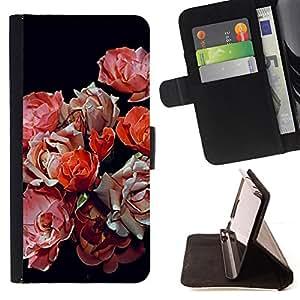 """Bright-Giant (Primavera Begonia Negro Rosa Rojo Flores"""") Modelo Colorido Cuero Carpeta Tirón Caso Cubierta Piel Holster Funda Protección Para Apple iPhone 5C"""