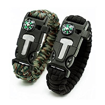 2 Pack,Multifunctional Paracord Survival Bracelet, Outdoor Survival Kit Parachute Cord Buckle W Compass Flint Fire Starter Scraper Whistle for Hiking Camping Emergency More.(Black and Camouflage)
