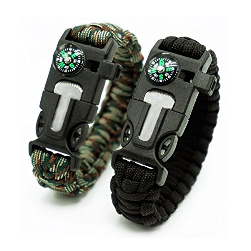 2 Pack,Multifunctional Paracord Survival Bracelet, Outdoor Survival Kit