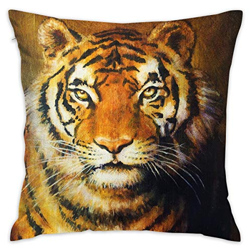 R0k2t0 Tiger Throw Pillow Cushion Cover, Oil Painting Style Big Cat Purposeful Eyes Carnivore Bengal Feline of East,Decorative Square Accent Pillow Case,18 X 18 Inches,Black Light Brown_2