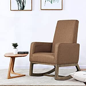 Fabric Morden Rocking Upholstered Relax Chair (Espresso Fabric Chair)