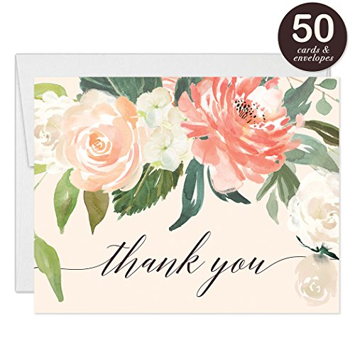 Peach Thank You Cards with Envelopes ( Pack of 50 ) Pink Peonies Floral Blank Folded Thank You Notecards Birthday Anniversary Retirement Engagement Wedding Gift Thanks Gracias Excellent Value VT0038