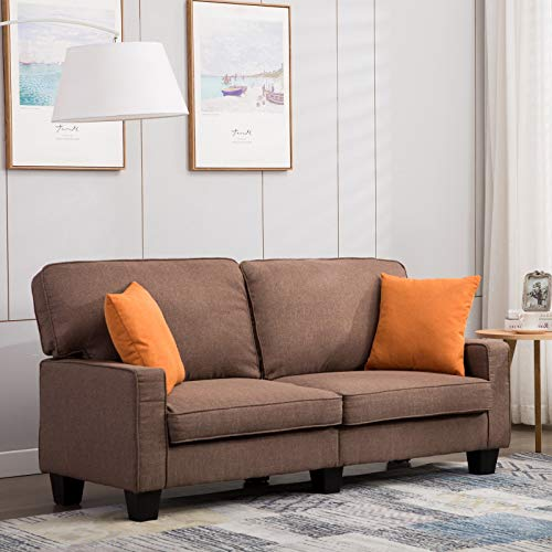 Mecor Loveseat Sofa Couch,68 Inch Living Room Sofa Line Fabric Classic Modern Furniture (Brown)
