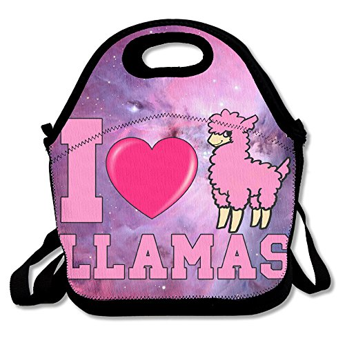 I Love (heart) Llama Lunch Tote Insulated Reusable Picnic Lunch Bags Boxes For Men Women Adults Kids Toddler Nurses (Foamies Heart)