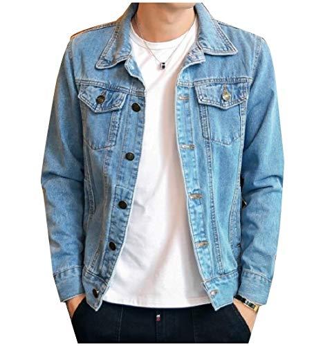Men Jacket Down Howme Button Turn Short Blue Denim Collar Pockets Coat Jean Light SwnUdxqn