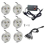 Xking 3W Set of 6 LED Puck Light Kit With Dimmable Adapter for Under Cabinet, Bookshelf, and Showcase Lighting, 240LM - (Cool White 6000K)