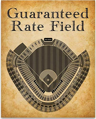 (Guaranteed Rate Field Baseball Seating Chart - 11x14 Unframed Art Print - Great Sports Bar Decor and Gift Under $15 for Baseball Fans)