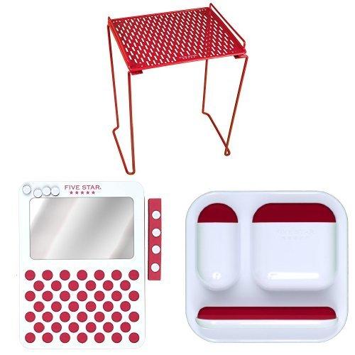 FiveStar Locker Shelf (Red) with Locker Mirror and Locker...