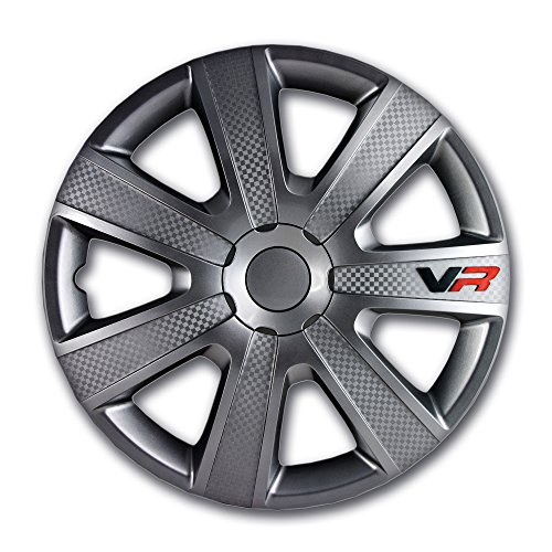 Alpena 58254 VR Carbon Wheel Cover Kit - Gun Metal - 14-Inch - Pack of 4 Gunmetal Wheel