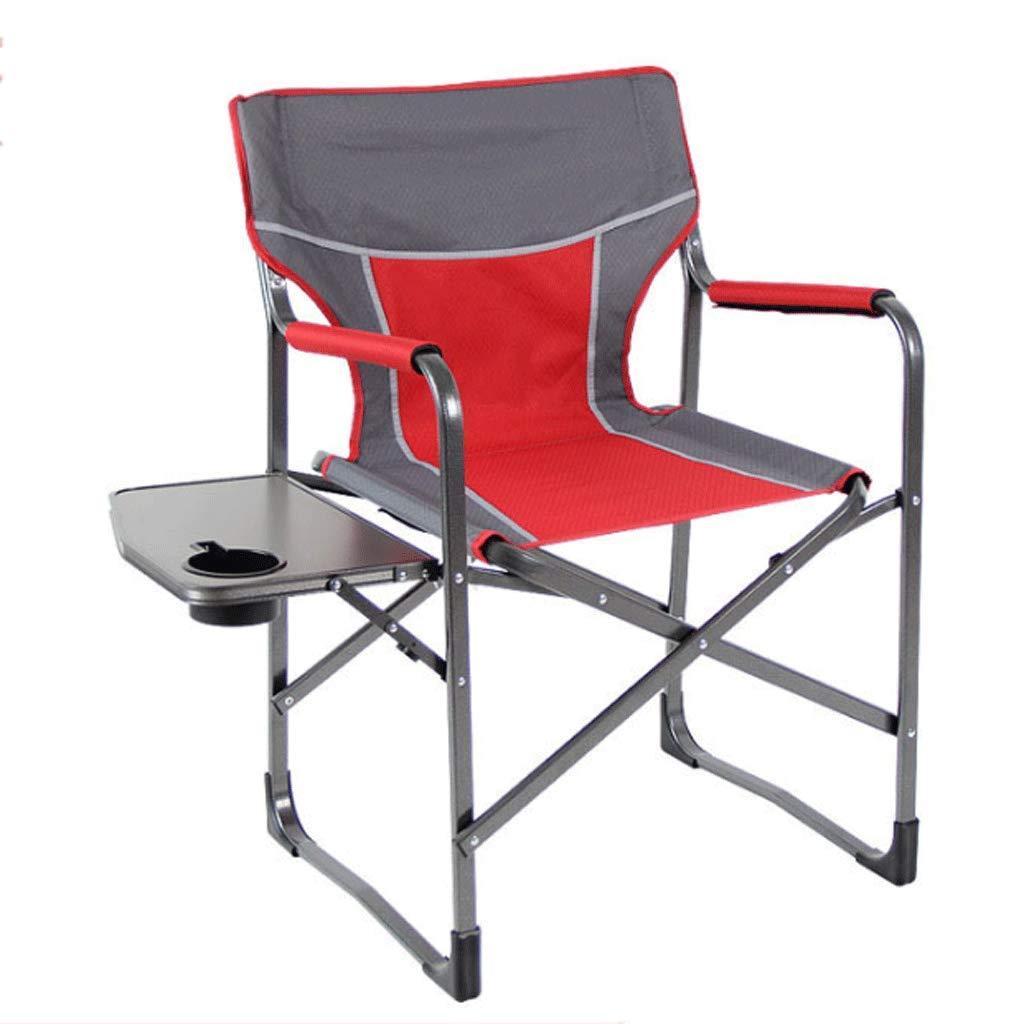 WANG Multifunktionsklappstuhl Mit Beistelltisch Aluminium Outdoor Angeln Stuhl Strand Camping Freizeit Stuhl (Farbe   rot)