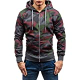 Ankola Hoody Sweatshirt Men's Long Sleeve Zipper Drawstring Camouflage Hooded Sweatshirt Top Outwear Blouse Jacket Outwear (XXL, Dark Gray)