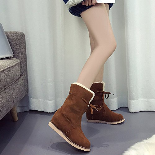 Martin Trim Low Wedge Ladies Boots Brown Boots Womens Shoes Warm Ankle Biker Bestoppen Womens Ankle Flat p7nBI