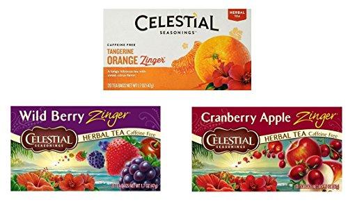 Celestial Seasonings Caffeine Free Herbal Zinger Tea 3 Flavor Variety Bundle, (1) each: Tangerine Orange, Wild Berry, Cranberry Apple (20 - Cranberry Seasonings Celestial