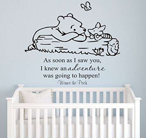Winnie Pooh - As Soon As I Saw You Quote Baby Room Wall Decal- Decal For Baby's Room- Quote Mural Decal (Wide 18