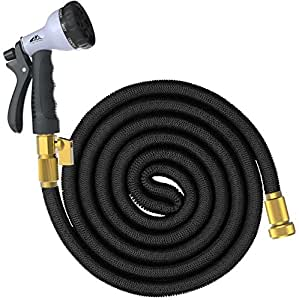 SuperGrowing 100 Feet Flexible Expandable Rubber Garden Hose with Solid Brass Connector and valve,Double Layer Latex Core,8 Function Spray Nozzle,Large Hose Hook Holder(BLACK) (100Ft)