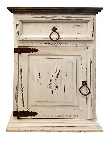Handscrape Rustic Western Country Nightstand End Table Already Assembled (Left Hinged, White) (Western Rustic Furniture)