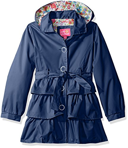 Pink Platinum Little Girls' 3 Tiered Ruffled Trench W/Satin Lining, Navy, 5/6 (Satin Jacket Trench)