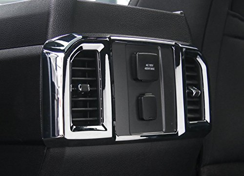 ABS Chrome Car Rear Air Conditioning Outlet Air Vents Cover Frame Trim for Ford F150 F-150 2015 2016 2017 1pc by Aspeike