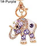 Cute Elephant Colorful Rhinestone Women Car Bag Key Chain Keyring Purse Charm - 1#-Purple GlobalDeal