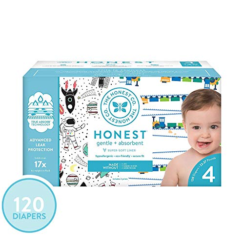- The Honest Company Super Club Box Diapers with TrueAbsorb Technology, Space Travel & Trains, Size 4, 120 Count